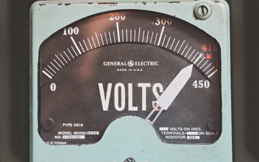 high volt orgasms (image shows voltage meter going off the scale)